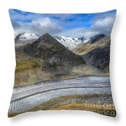 Aletsch Glacier, Switzerland Throw Pillow