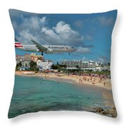 American Airlines At St. Maarten Throw Pillow