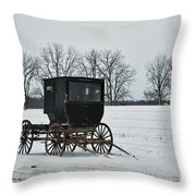 Amish Buggy Near Shipshe Throw Pillow