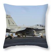 An Fa-18f Super Hornet Ready To Launch Throw Pillow