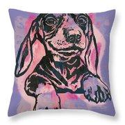 Animal Pop Art Etching Poster - Dog  5  Throw Pillow