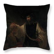 Aristotle With A Bust Of Homer Throw Pillow