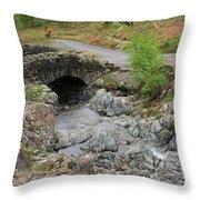 Ashness Stone Packhorse Bridge, Lake District National Park Throw Pillow