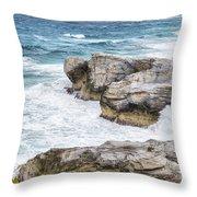 Atlantic Coastline In Bahamas Throw Pillow