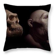 Australopithecus With Skull Throw Pillow