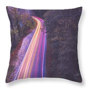 Automobile Traffic Long Exposure At Dusk In Pisgah National Park Throw Pillow