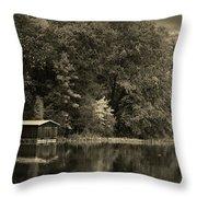 Autumn Lake Boathouse Throw Pillow