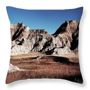 Badlands At Sunset Throw Pillow