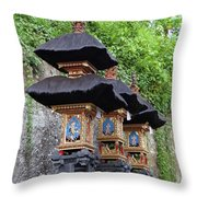 3 Bali Shrines Throw Pillow