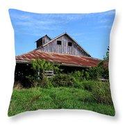 Barn In The Blue Sky Throw Pillow