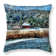 Vermont Farm By The River Throw Pillow
