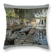 Bathers At La Grenouillere Throw Pillow