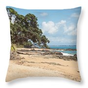 Beach In New Zealand Throw Pillow