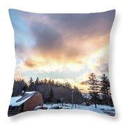 Beautiful Sunrise Over Horizon On Snowshoe Mountain West Virgini Throw Pillow
