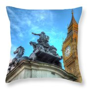 Big Ben And Boadicea Statue  Throw Pillow