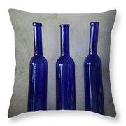 3 Blue Bottles Throw Pillow