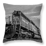 Blue Freight Train Engine At Sunrise  Throw Pillow