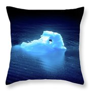 Blue Icebergs And Ice Chunks In Water Nearby Alaska Throw Pillow