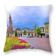 Bolzano Main Square Waltherplatz Panoramic View Throw Pillow