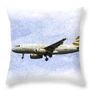British Airways A319 Feather Design Art Throw Pillow