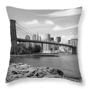 Brooklyn Bridge - New York City Skyline Throw Pillow