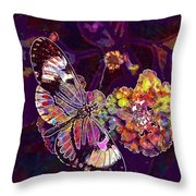Butterfly Macro Pose Plant Green  Throw Pillow