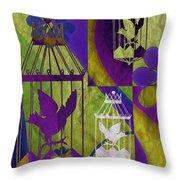 3 Caged Birds Throw Pillow