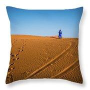 Tracks In The Sahara Throw Pillow
