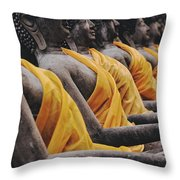 Carved Stone Buddha Statue Wat Temple Complex In Old Siam Kingdom Ayutthaya Thailand Throw Pillow