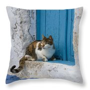 Cat In A Doorway, Greece Throw Pillow