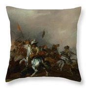 Cavalry Attacked By Infantry Throw Pillow