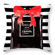 Chanel Noir Perfume Throw Pillow
