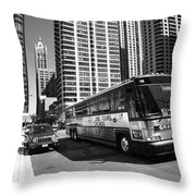 Chicago Bus And Buildings Throw Pillow