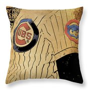 Chicago Cubs Baseball Team Vintage Card Throw Pillow