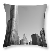 Chicago River And Skyline Throw Pillow