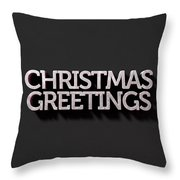 Christmas Greetings Text On Black Throw Pillow