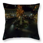 Christmas Lights, Looking West Throw Pillow