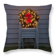 Christmas Wreath On Lawn Chairs Throw Pillow