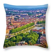 City Of Verona Old Center And Adige River Aerial Panoramic View Throw Pillow