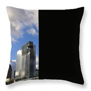 Cleveland City Skyline And Old Lamp Post Throw Pillow