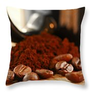 Coffee Beans And Ground Coffee Throw Pillow