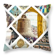 Collage Of Kathmandu  Throw Pillow