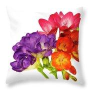 Colorful Freesias Throw Pillow