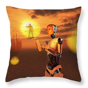 Concept Illustrating Mankind Becoming Throw Pillow