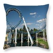 Cork-screw Rollercoaster And Ferris-wheel Throw Pillow