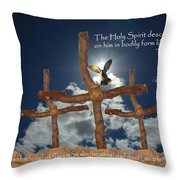 3 Crosses Descent Of Holy Spirit Throw Pillow by Robyn Stacey