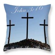 3 Crosses Throw Pillow