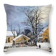 Currier & Ives Winter Scene Throw Pillow