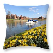 Daffodils Beside The Thames At Hampton Court London Uk Throw Pillow