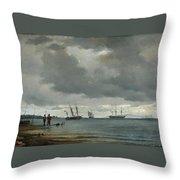 Danish Seascape Throw Pillow